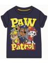 Krásne pruhované tričko s motívom Tlapkové patroly - PAW PATROL. Je vyrobené z príjemného 100% bavlneného materiálu. Tričko má tmavo modrú farbu, okrúhly výstrih, krátke rukávy a prednú stranu zdobí obrázok Chase, Marschall a rubľa.