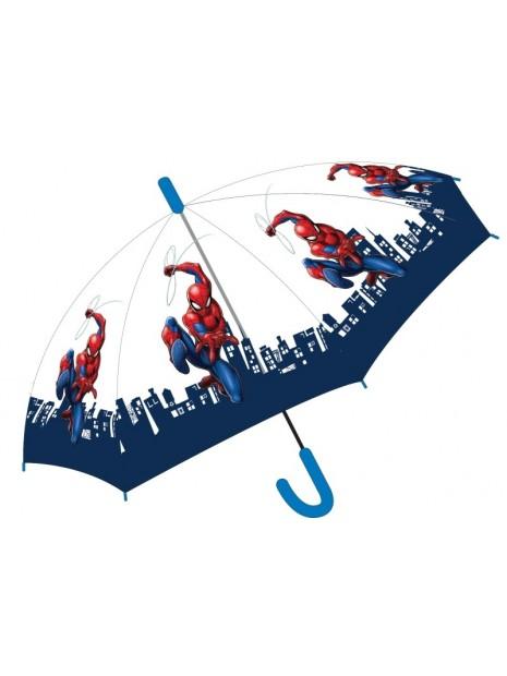 Chlapecký vystřelovací deštník Spiderman - transparentní
