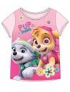 Krásne dievčenské tričko s krátkym rukávom vyrobené zo 100% bavlny s motívom Tlapková patrola - Paw Patrol. Prednú stranu zdobí obrázok šteniatok Skye a Everest zadná strana je svetlo ružová.