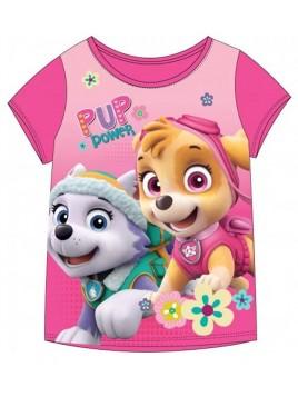 Dívčí bavlněné tričko Tlapková patrola Skye a Everest - tm. růžové