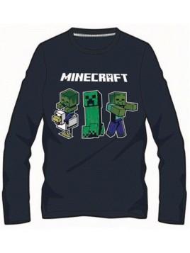 Chlapecké tričko s dlouhým rukávem Minecraft - černé