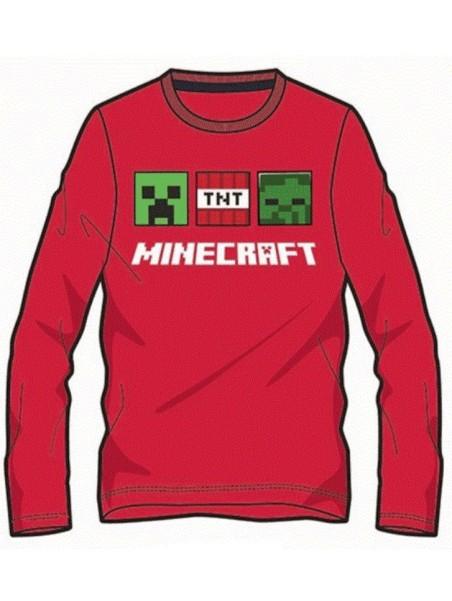 Chlapecké tričko s dlouhým rukávem Minecraft - červené