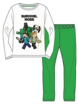 Chlapecké bavlněné pyžamo Minecraft - bílé