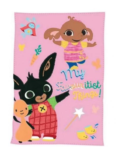 Dívčí fleecová deka zajíček Bing, Flop a Sula - růžová