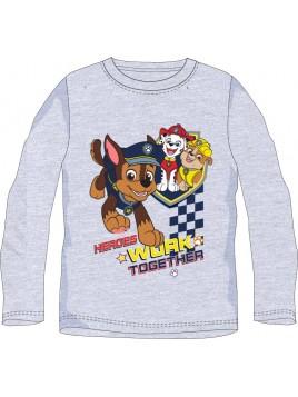 Chlapecké tričko s dlouhým rukávem Tlapková patrola - šedé