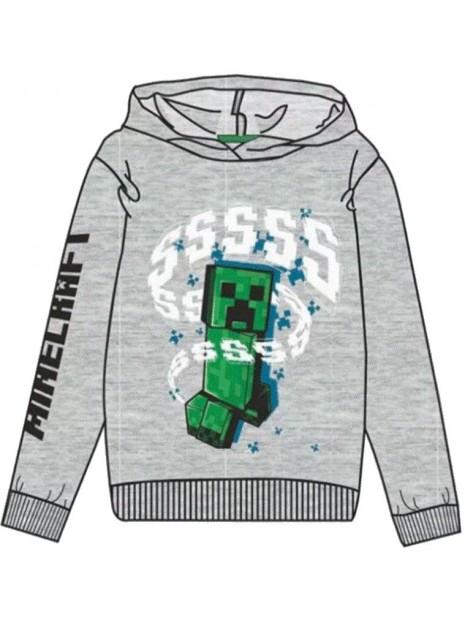 Chlapecká mikina s kapucí Minecraft - šedá