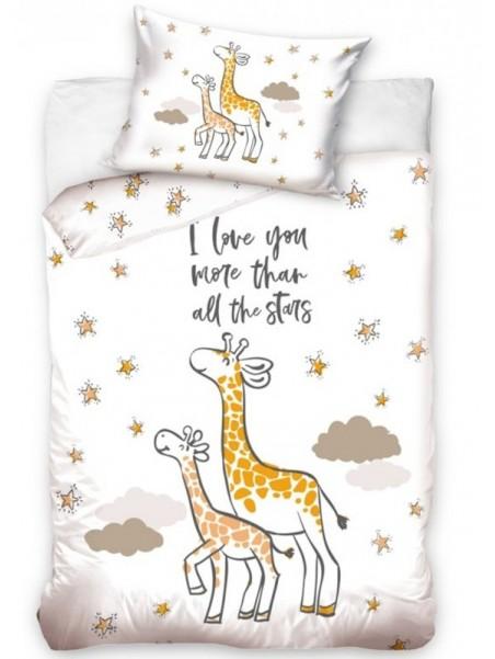 Bavlněné povlečení do dětské postýlky Žirafa a žirafátko