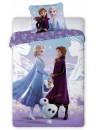 Krásne dievčenské posteľné obliečky Frozen, je vyrobené z kvalitnej 100% bavlny. Lôžkovina má z každej strany iný motív. Prednú stranu povlaku zdobí obrázok Elsy, Anny a Olafa, druhá strana je fialovej farby, zdobená drobnými vzormi siluet princezien a stromov. Vankúš zdobí obrázok Anna + Elsa. Posteľná bielizeň má praktické zapínanie na zips. Rozmer 140 x 200 + 70 x 90 cm. Tyto obliečky su opatrené medzinárodným certifikátom kvality Oeko-Tex Standard 100, ktorý zaručuje stálosť farieb i rozmerov a tiež to, že výrobok neobsahuje škodlivé látky. Viac informácií nájdete napr. TU