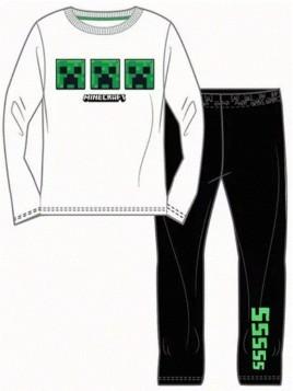 Chlapecké bavlněné pyžamo Minecraft Creeper - bílé