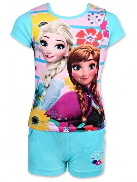 Dievčenský letný set Ľadové kráľovstvo (Frozen 2) - tričko a šortky - modrý