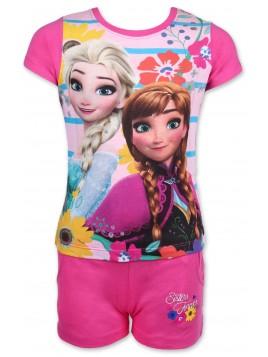 Dievčenský letný set Ľadové kráľovstvo (Frozen) - tričko a šortky - ružový