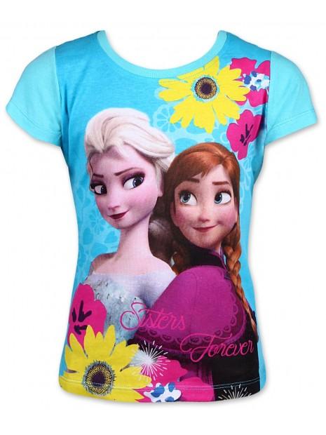 Dievčenské tričko s krátkym rukávom Ľadové kráľovstvo (Frozen) - tyrkysové