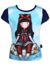 Krásne tričko vtmavomodromprevedení vašmu dievčatku pristane. Je vyrobené z príjemného 100% bavlneného materiálu. Tričko má okrúhly výstrih, krátke rukávy a prednú stranu zdobí obrázok bábiky a zadná strana je tmavomodrá.